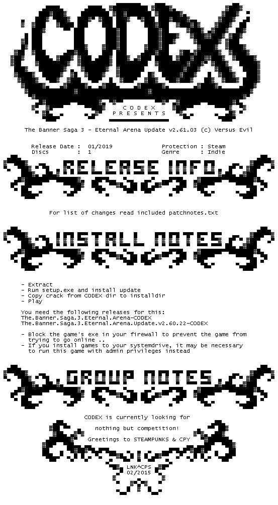 crack status for The.Banner.Saga.3.Eternal.Arena.Update.v2.61.03-CODEX