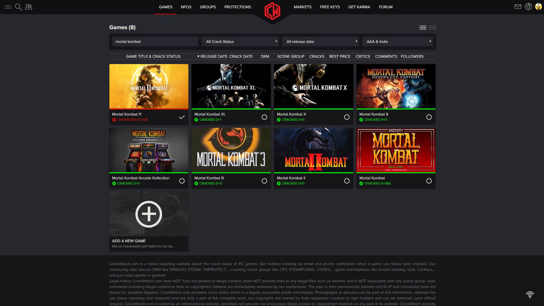 Mortal Kombat 11 Crack Status | CrackWatch