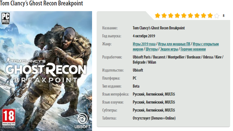 Tom Clancy's Ghost Recon Breakpoint Crack Status | CrackWatch